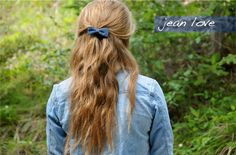 They say never mix denim but I think we can make an exception with this cute hair bow. I love theversatility a jean shirt brings to your look. My favorite way to wear this jacket is with a pretty lace dress! The bow makes an adorableaccessory!