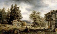 Werner Holmberg (1830-1860) Talonpoikaistalo Kurussa / Cottage in Kuru 1859 - Finland - sheep