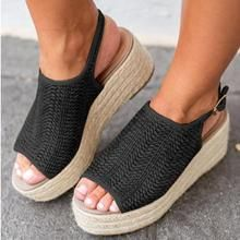 819fa129648 Sheinlook Casual Platform Peep Toe Espadrille Sandals
