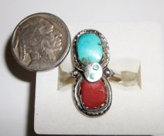 Native American Zuni Effie C Sterling Sleeping Beauty Turquoise Coral Snake Ring