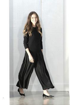 Fashion Designer Barbara Casasola's Elegant Black Satin Trouser Outfit