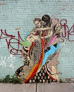 SWOON - street artist; wheat pastes enormous woodcut prints to walls/wherever