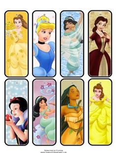 Free Printable Disney Princess Bookmarks. I love that Belle is on here 3 times. It's like they knew she's my favorite.