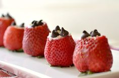 Strawberries taste better when stuffed with Chobani & chocolate chips!
