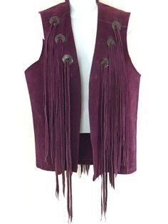 Vintage Suede Fringe Vest Purple South Western Cowboy Hippy Boho Biker Sz S #PioneerWear