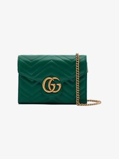 dd18392a52df Green GG Marmont Leather chain bag. Green Shoulder BagsLeather ...