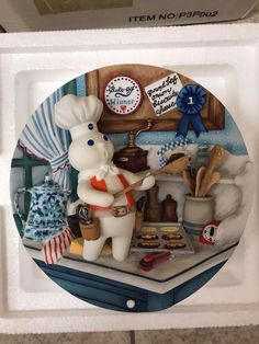 Pillsbury Doughboy Danbury Mint 3D Collector Plate - Poppin Fresh Barbecups COA! #PillsburyDanburyMint
