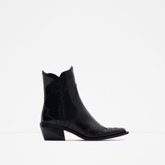 Image 1 of FLAT LEATHER COWBOY ANKLE BOOTS from Zara