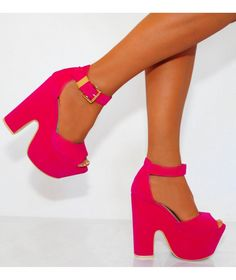 Fuchsia Pink Wedges - HeelsFans.com