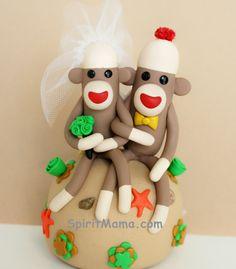 Beach Destination Sock Monkey Wedding Cake Topper 4 by SpiritMama, $100.00