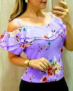 blusas mujer de moda 2019 women's blouse shirt Women Casual Off Shoulder Floral Print Blouse Short Sleeve Loose Top Shirt Tee Blouse Styles, Blouse Designs, Trend Fashion, Ladies Fashion, Style Fashion, Fashion Design, Loose Shirts, Casual Tops, Pattern Fashion