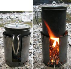 alcohol-and-wood-combined. DIY Fancy Feast and twig stove hybrid.