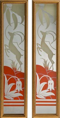 A Pair of Art Deco Framed Eglomisé Mirrors with Antelope Motifs, 20th century 21-1/4 inches high x 4-5/8 inches w...
