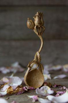 Ivy Leaf, Wood Spoon, Leaf Pendant, Wood Carving, Wood Art, Wood Crafts, Hand Carved, Woodworking, Spoons