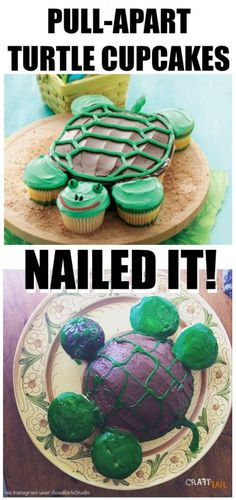 Turtle-Shaped Cake – Nailed It! Best Birthday Cake Recipe, Mexican Food Recipes, Dessert Recipes, Turtle Cupcakes, Birthday Party Desserts, Birthday Parties, Fail Nails, Banana Pudding Recipes, Nails For Kids