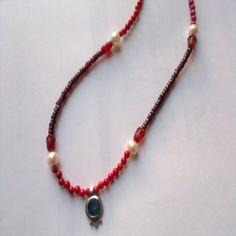 Necklace Sterling silver pomegranate roman glass pendant garnets corals Israeli handwork