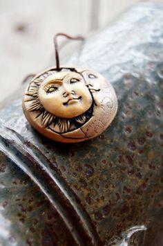 Moon & Sun Goddess Polymer Clay Face Pendant by TRaewyn