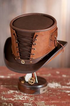 Steampunk Victorian Vested Leather Top Hat   Overland
