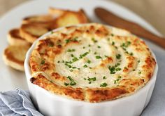 Hot onion and cheese soufflé dip.