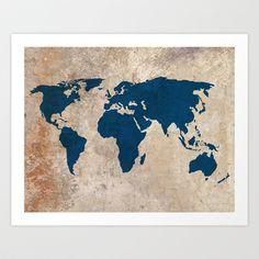 Rustic World Map Art Print by Samantha Ranlet - $17.68