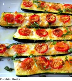 Here's the recipe: -slice zucchinis in half and scoop out seeds. -mist some olive oil on top and then sprinkle some garlic, pepper & basil on top. -add toppings (sliced tomatoes for me) -…