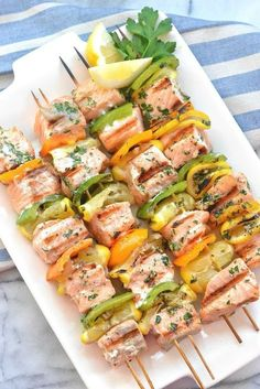 Enjoy warmer temperatures by firing up your grill and making these super Easy Salmon Kebabs - healthy, fast, so delicious! Salmon Recipes, Fish Recipes, Seafood Recipes, Dinner Recipes, Grilling Recipes, Cooking Recipes, Healthy Recipes, Primal Recipes, Salmon Skewers