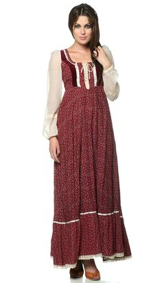 1970s burgundy Gunne Sax maxi.  My mom made this dress for me in blue with a matching cropped velvet jacket for one of my high school formals.