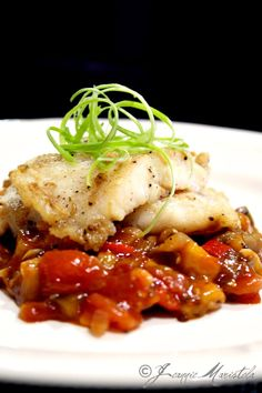 PAN-FRIED JOHN DORY FILLETS OVER EGGPLANT, TOMATO AND CHAMPIGNON RAGOUT
