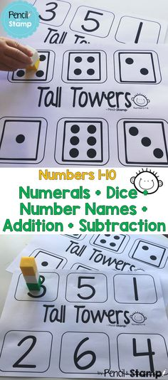 This No Prep Number Recognition game is hands on and helps develop one-to-one correspondence, subitising and simple addition + subtraction. The only materials you need are blocks! Numbers Kindergarten, Numbers Preschool, Math Numbers, Preschool Math, Numeracy Activities, Kindergarten Activities, Classroom Activities, Number Recognition Activities, Simple Addition