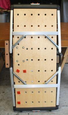 """Festool"" Home-Made Multi-Function-Table Metal Workshop, Workshop Storage, Workshop Organization, Workshop Ideas, Portable Workbench, Workbench Plans, Woodworking Workshop, Woodworking Projects, Tool Bench"