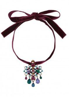 Burgundy crystal-embellished velvet choker