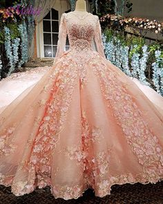 Fmogl Vintage O-neck Long Sleeve Pink Ball Gown Wedding Dress 2018 Appliques Lace Embroidery Flowers Bride Gown Robe De Mariage
