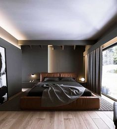 French Home Decor .French Home Decor Modern Master Bedroom, Modern Bedroom Design, Home Room Design, Modern Interior Design, House Design, Modern Mens Bedroom, Bedroom Bed Design, Interior Designing, Design Interiors