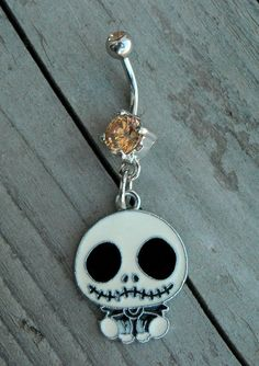 The Nightmare Before Christmas Jack Skellington Skull Orange Diamond Belly Button Ring by Ink & Roses 13