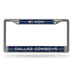 Dallas Cowboys NFL #1 Mom License Plate Frame (Chrome Glitter)
