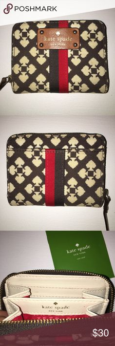 Kate Spade Small Wallet Lightly used! If you need just a small wallet to grab and go, this is perfect! I put a wristlet on it and carried with my keys! Still have the care instructions! kate spade Bags Clutches & Wristlets