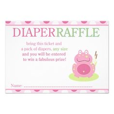 Fiona the Pink Frog Baby Shower Diaper Raffle Card Baby Shower Diapers, Baby Shower Fun, Shower Party, Baby Shower Gifts, Bridal Shower, Frog Baby Showers, Baby Turtles, Turtle Baby, Pack Of Diapers