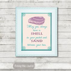 Sea Shell Cabin Quote, Printable Shell and Sand Quote Wall Art, Beach Decor by Twining Vine Creatives