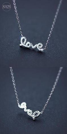 "[Visit to Buy] Real. 925 Sterling Silver White CZ Paved Script ""love"" Pendant Necklace Gift Sterling-Siler-Jewelry GTLX503 #Advertisement"