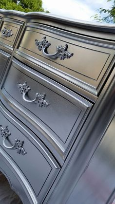 Beautiful Silver Drexel Dresser/Buffet -Sexy Furniture & Decor