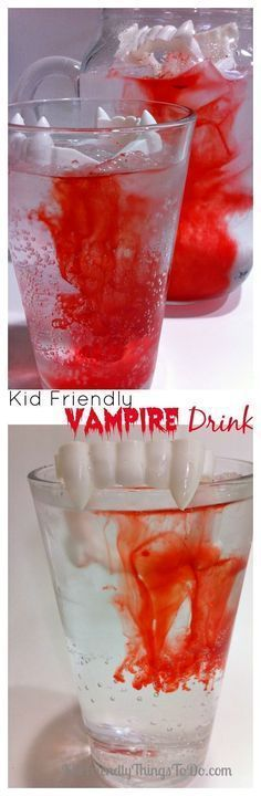 2 Ingredient Kid Friendly Vampire Drink for Halloween Kid Friendly Halloween Vampire Drink - Kid friendly, but delicious enough for adults to enjoy it too! One of the coolest drinks for a Halloween party. Halloween Desserts, Theme Halloween, Halloween Vampire, Halloween Dinner, Halloween Goodies, Halloween Food For Party, Halloween Birthday, Holidays Halloween, Halloween Kids