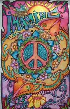 Imagine Peace and Love, Singleton Hippie Art Poster, Fully hand colored by… Boho Hippie, Paz Hippie, Estilo Hippie, Hippie Peace, Hippie Love, Hippie Style, Vintage Hippie, Hippie Things, Modern Hippie