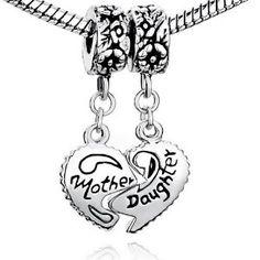 452f0f76c Pugster Mother & Daughter Heart Love Charms Dangle Bead Set For Pandora/Troll/Chamilia  Charm Bracelet: Amazon.co.uk: Jewellery
