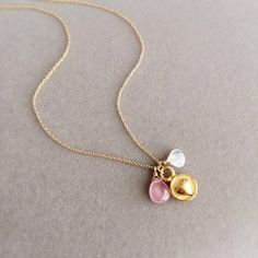 Multi gemstone Necklace in Gold Ruby Necklace Birthstone