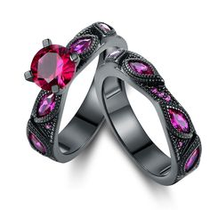 Rhodium Pink Sapphire Quartz Engagement Ring Set - N/A, Women's