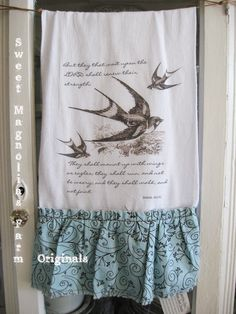 Oh my word I need this! My favorite bird's (Swallows) and my bible verse Isaiah 40:31!  Flour Sack Kitchen Towel But They that wait