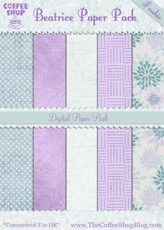 "The CoffeeShop Blog: CoffeeShop ""Beatrice"" Paper Pack! - nice soft purple and blue color combo"