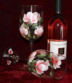 Peint à la main (ensemble de 2) - verres à vin rouge/rose Roses
