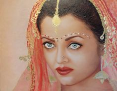 """Indian Bride"", Oil and mixed media on Linen, 16""x24"" Available for sale on http://www.houzz.com/pro/nersel-muehlen/nersel-zur-muehlen  red veil, gold accents, indian bride, ethnic bride, original art, oil painting"