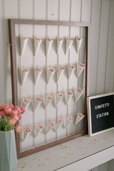 DIY Confetti Cone Station with Wooden Frame String & Doilies Inexpensive Wedding Favors, Wedding Favors For Guests, Diy Wedding Decorations, Party Guests, Wedding Gifts, Decor Wedding, Wedding Ideas, Wedding Ceremony, Wedding Keepsakes